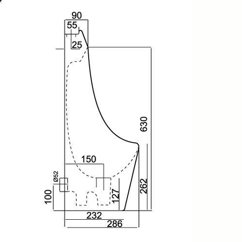 Hình 2: Bản vẽ autocad chi tiết cụ thể về thông số kỹ thuật bồn tiểu