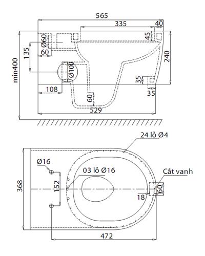 sơ đồ kĩ thuật bồn cầu viglacera