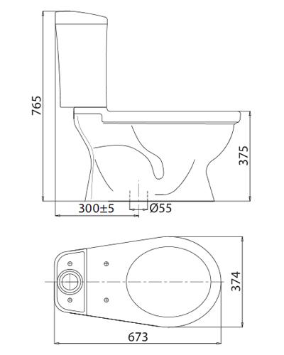 bản vẽ kỹ thuật bồn cầu viglacera