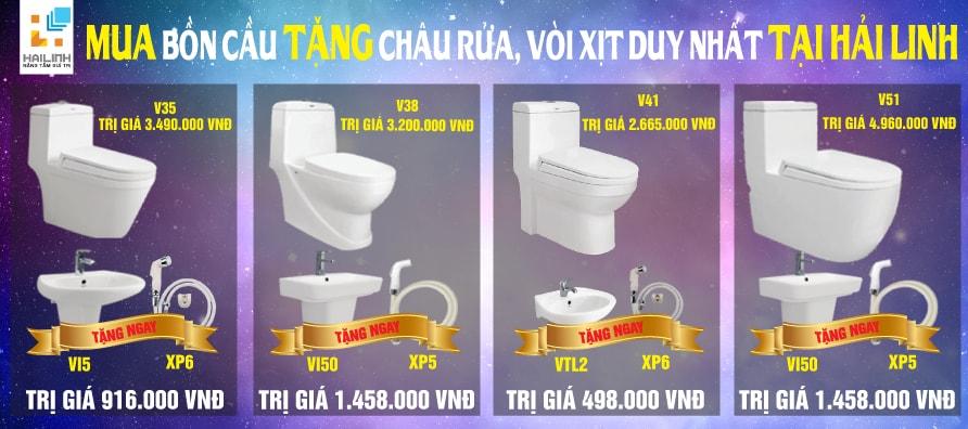 Mua bồn cầu Viglacera V35, V38, V41, V51 hè này để được tặng chậu rửa và vòi xịt